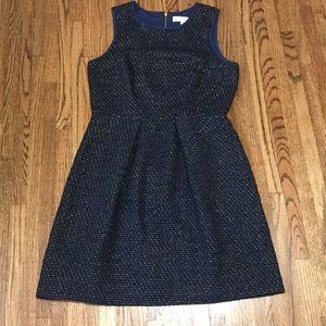 Loft 👗 black-gold-blue dress with zipper size 8